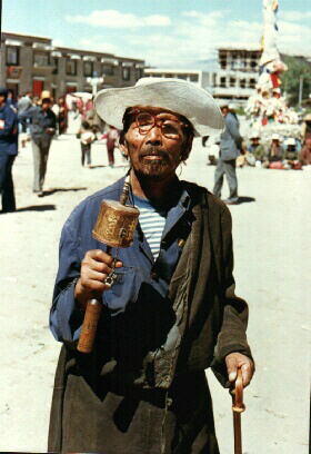 Local Pilgrim With Prayer Wheel - Lhasa